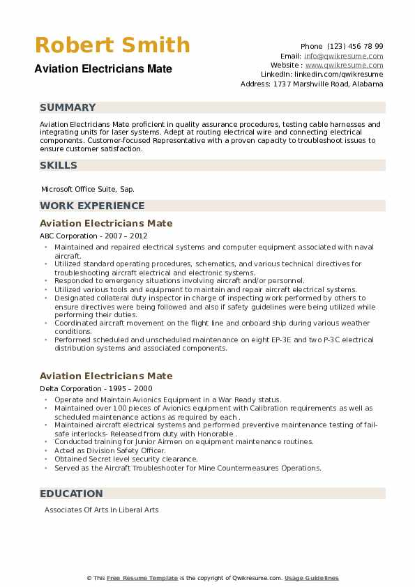 Aviation Electricians Mate Resume example