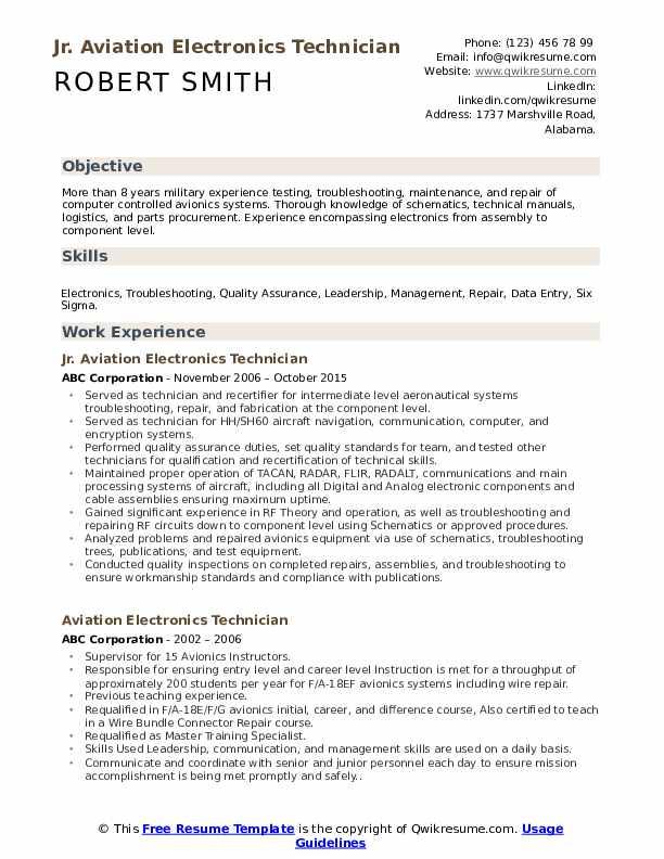 Jr. Aviation Electronics Technician Resume Format