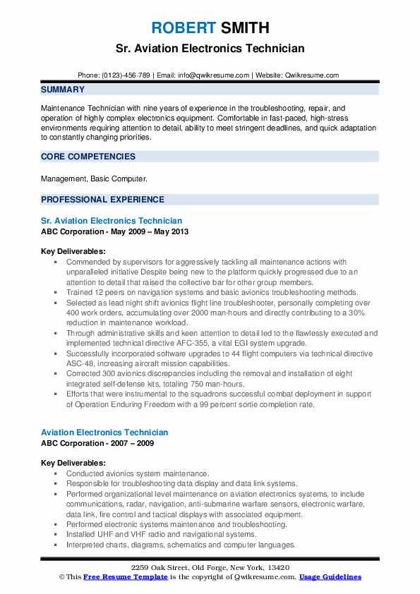 Sr. Aviation Electronics Technician Resume Sample