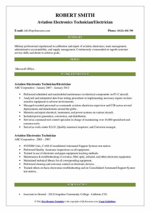 Aviation Electronics Technician/Electrician Resume Format