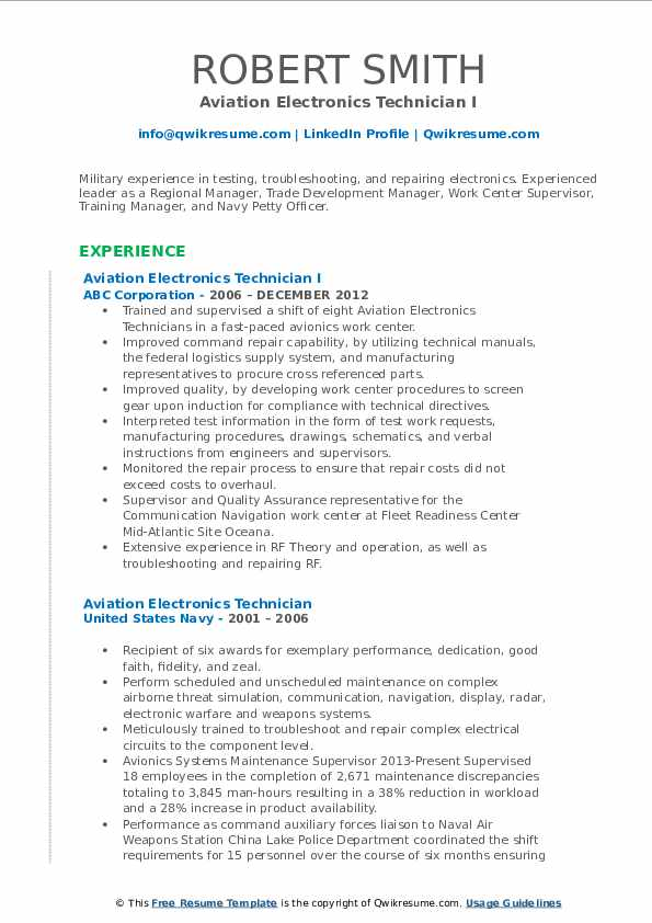 aviation electronics technician resume samples