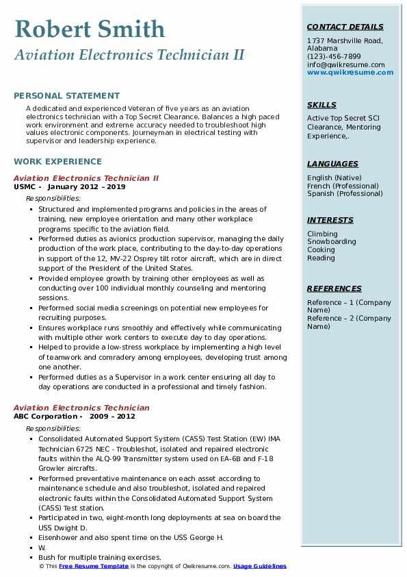 Aviation Electronics Technician II Resume Format