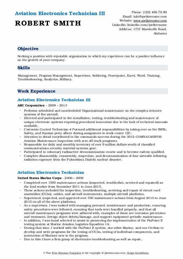 Aviation Electronics Technician III Resume Model