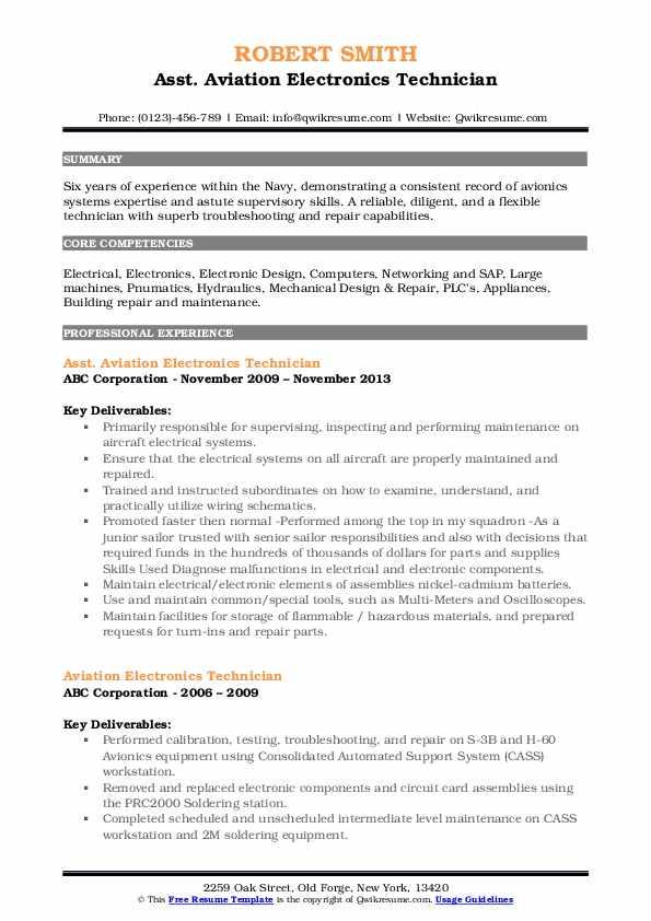Asst. Aviation Electronics Technician Resume Sample