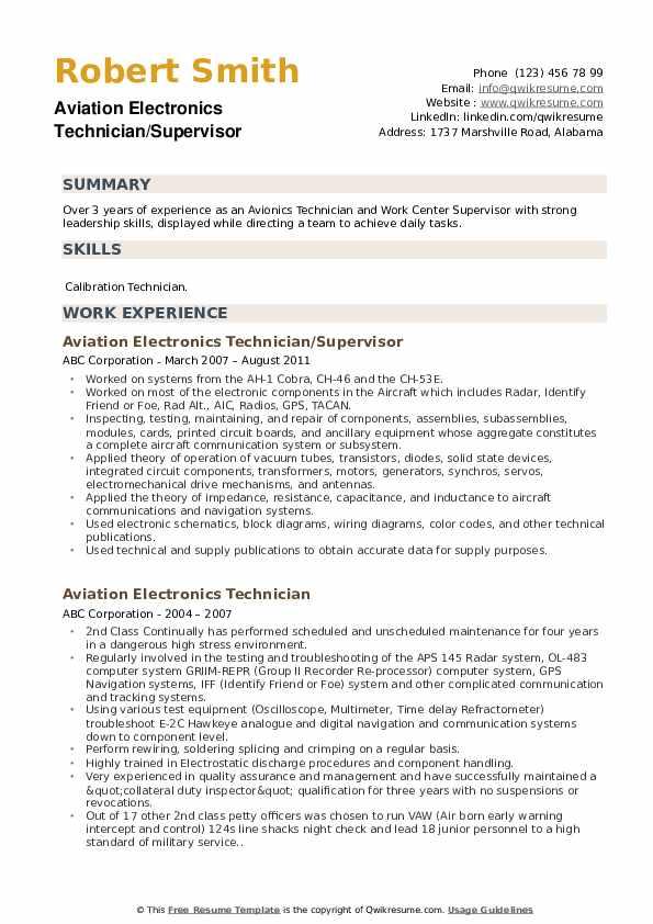 Aviation Electronics Technician/Supervisor Resume Example