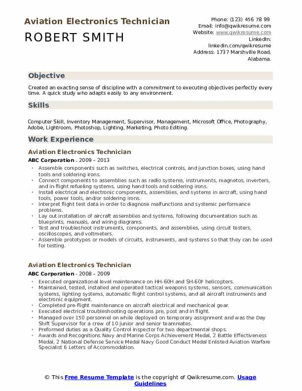 Aviation Electronics Technician Resume example