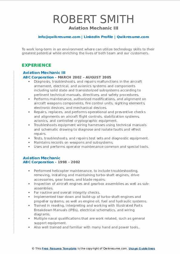aviation mechanic resume samples  qwikresume