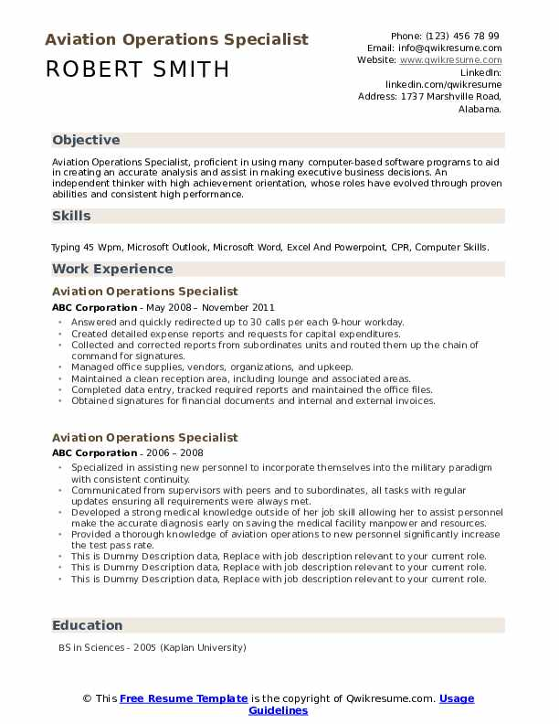 Aviation Operations Specialist Resume example