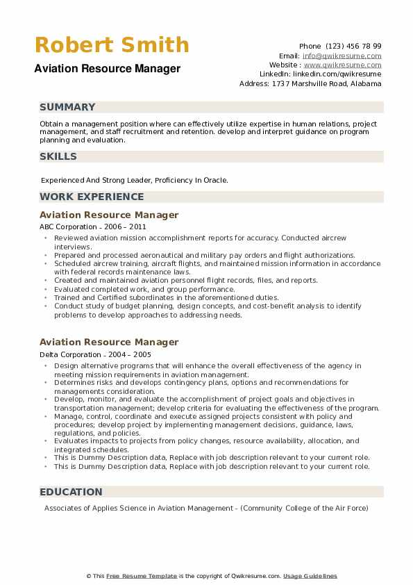 Aviation Resource Manager Resume example