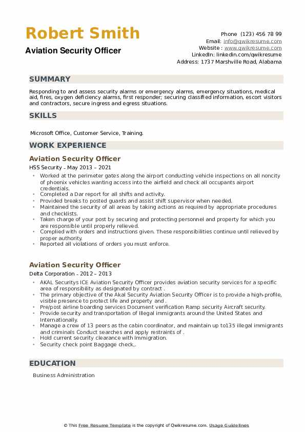 Aviation Security Officer Resume example