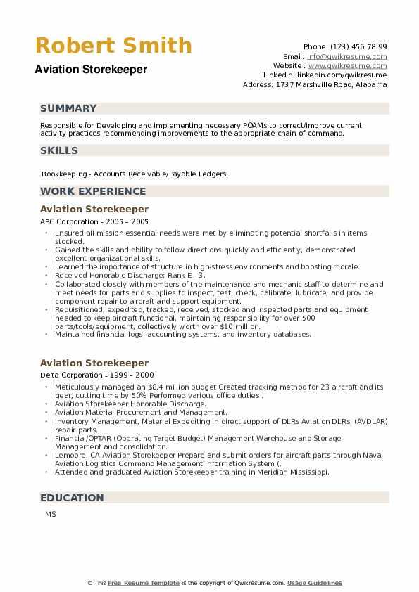 Aviation Storekeeper Resume example