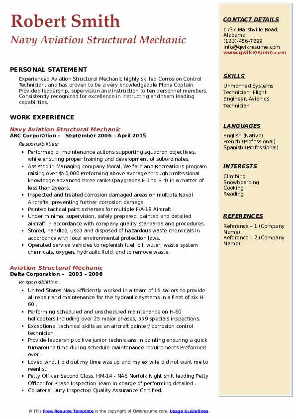 Aviation Structural Mechanic Resume Samples Qwikresume