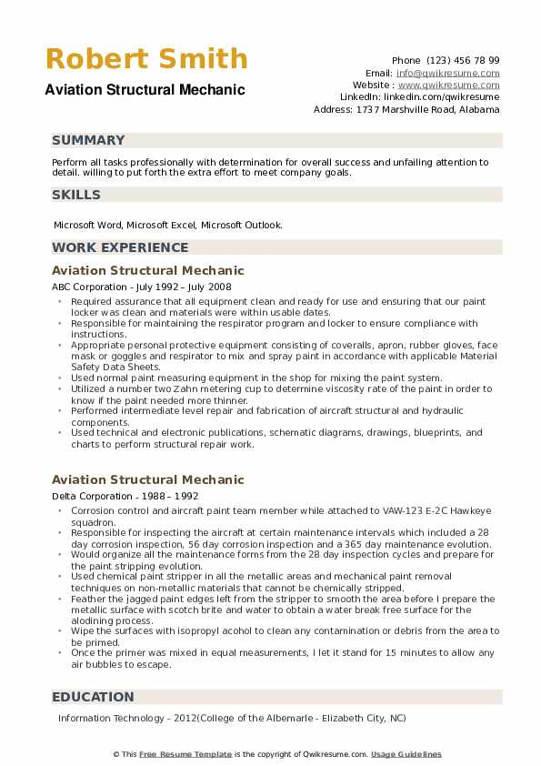 Aviation Structural Mechanic Resume example