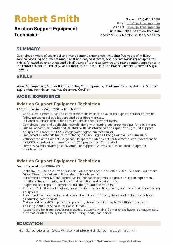 Aviation Support Equipment Technician Resume example