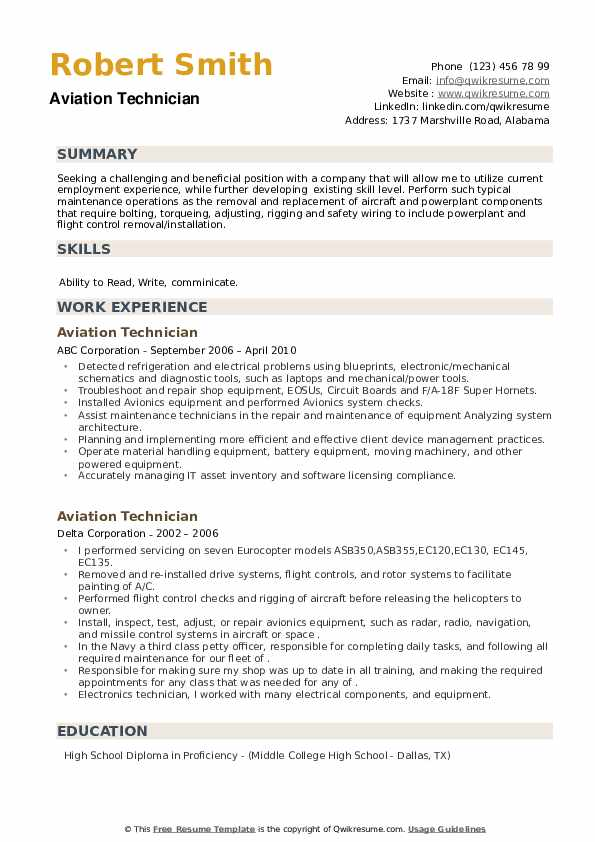Aviation Technician Resume example