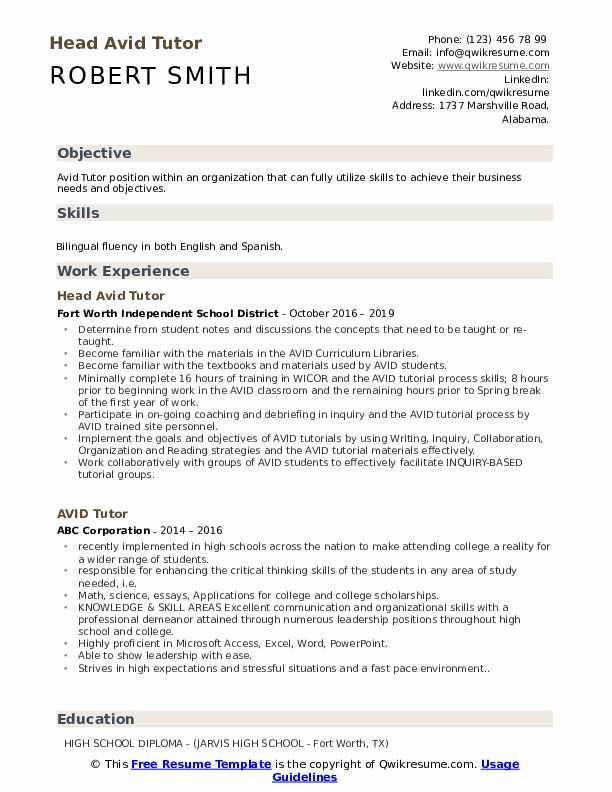 Head Avid Tutor Resume Sample