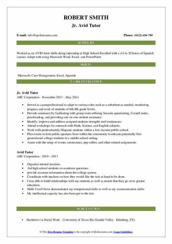 Jr. Avid Tutor Resume Format