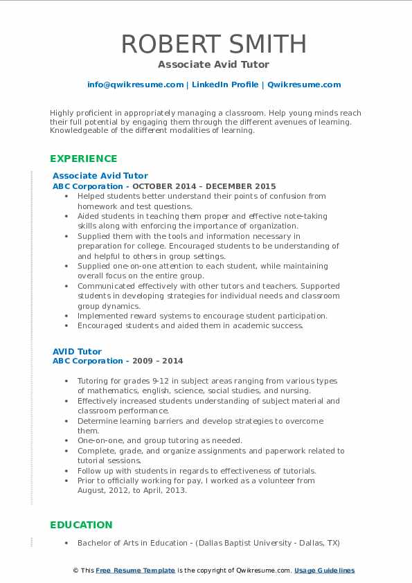 Associate Avid Tutor Resume Format