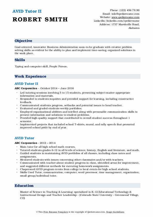 AVID Tutor II Resume Format