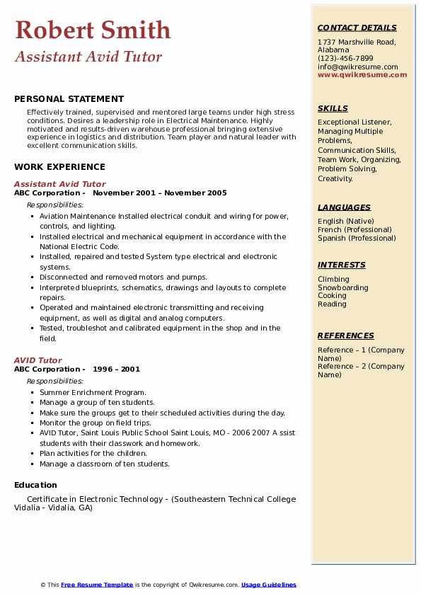 Assistant Avid Tutor Resume Model