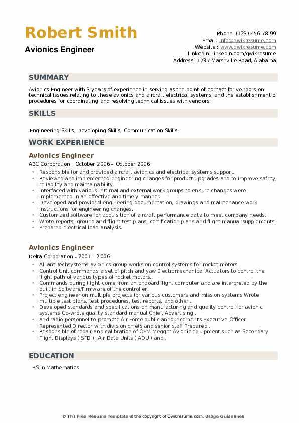 Avionics Engineer Resume example