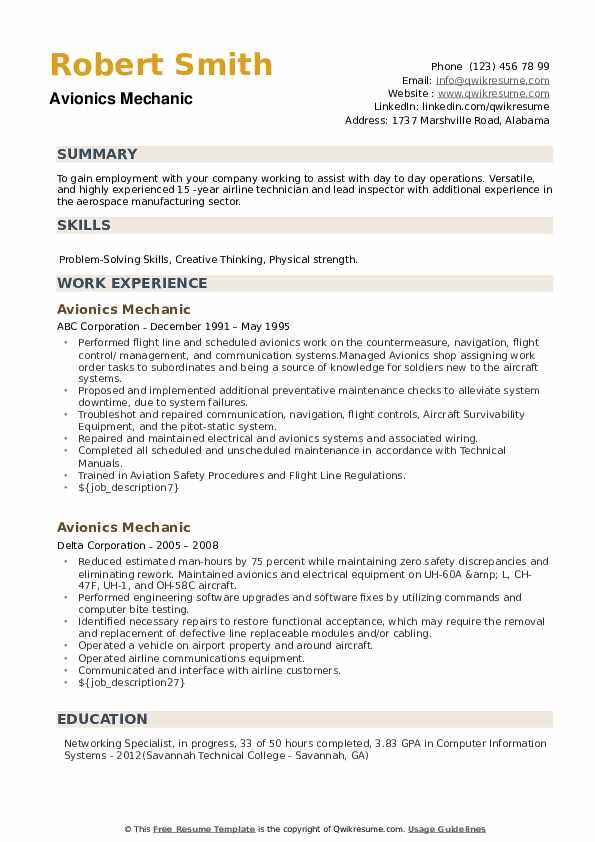 Avionics Mechanic Resume example