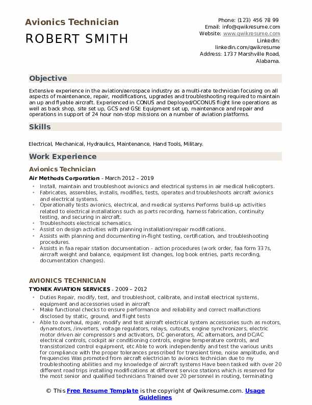 Avionics Technician Resume Sample