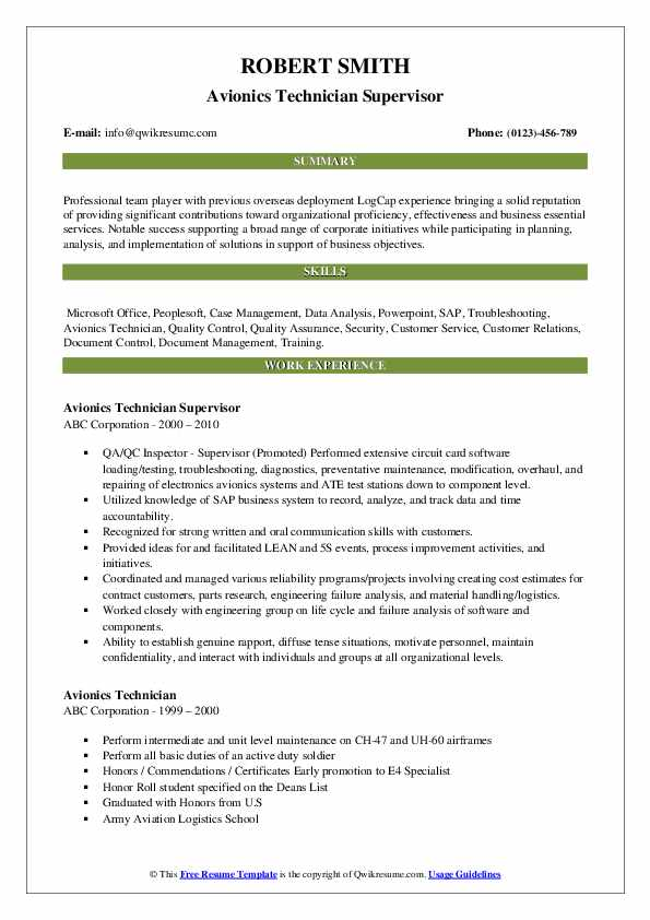 Avionics Technician Supervisor Resume Sample