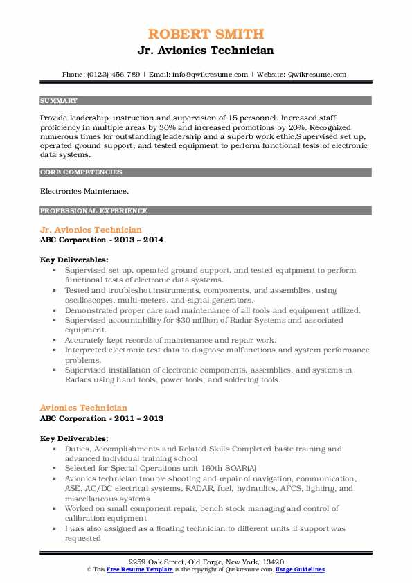 Jr. Avionics Technician Resume Model