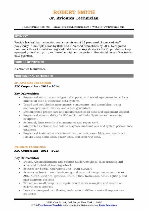 avionics technician resume samples