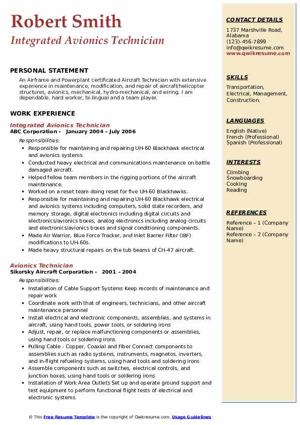 Integrated Avionics Technician Resume Example