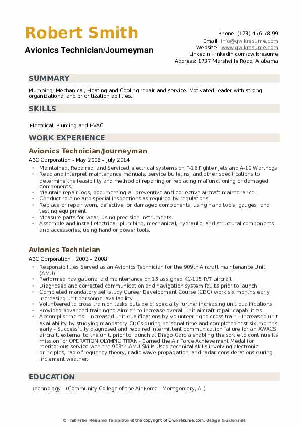 Avionics Technician/Journeyman Resume Example