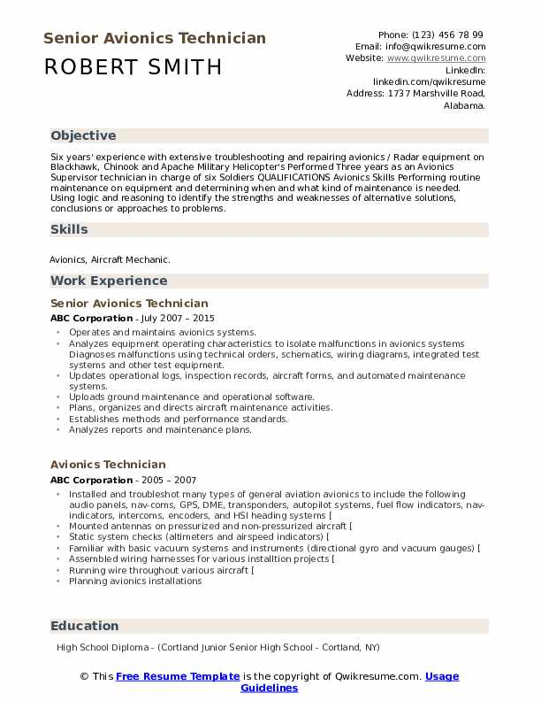 Senior Avionics Technician Resume Sample