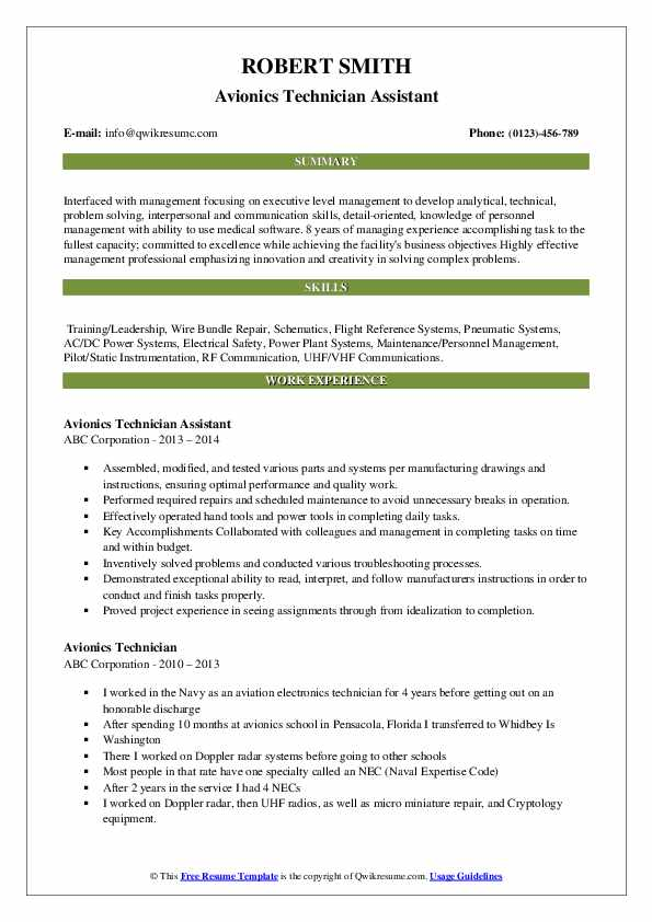 Avionics Technician Assistant Resume Sample