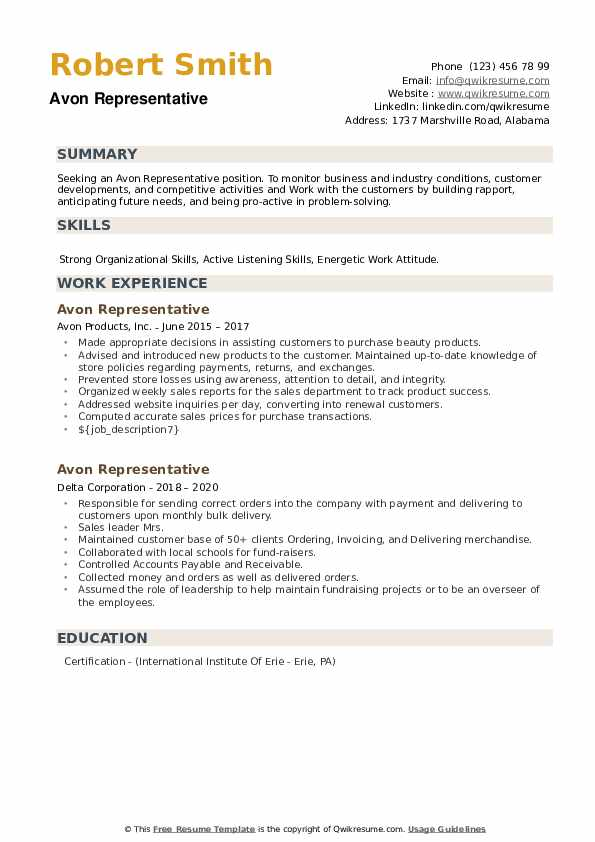 Avon Representative Resume example