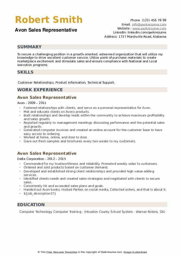 Avon Sales Representative Resume example