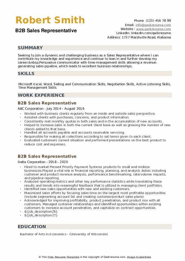 B2B Sales Representative Resume example