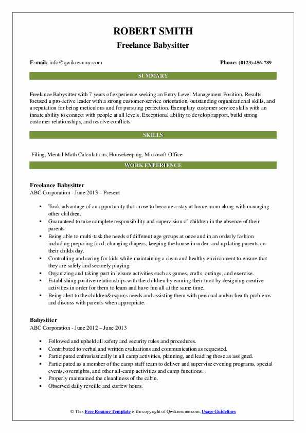Freelance Babysitter Resume Example