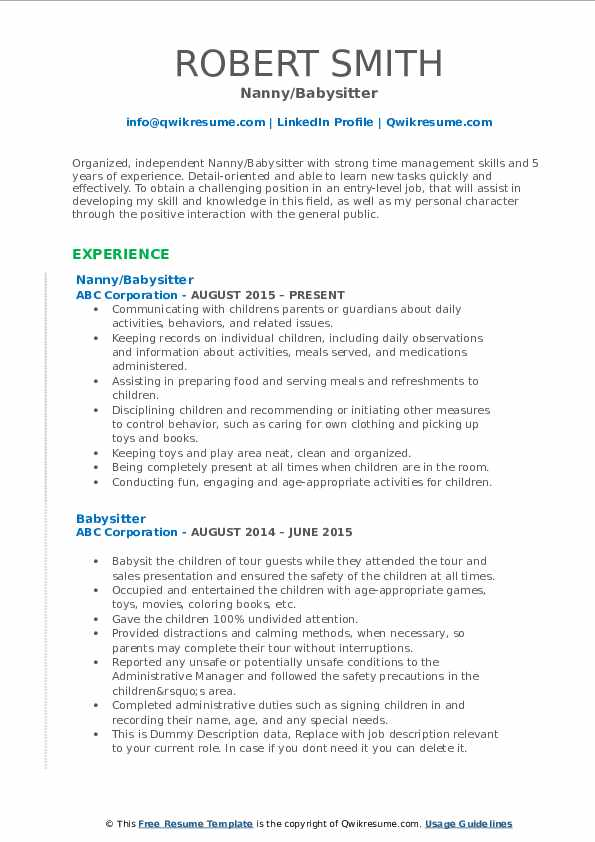 Babysitter Resume Samples Qwikresume