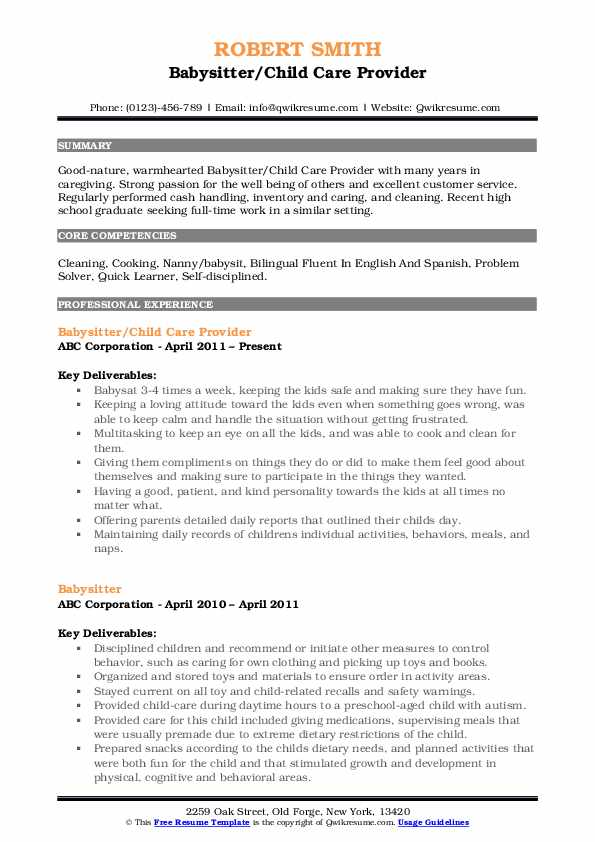 Babysitter/Child Care Provider Resume Sample