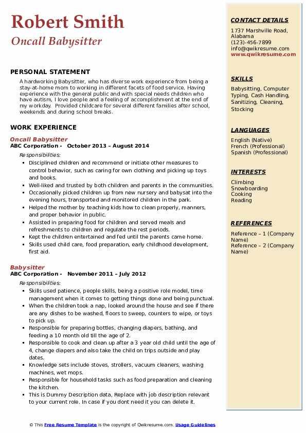 Oncall Babysitter Resume Format