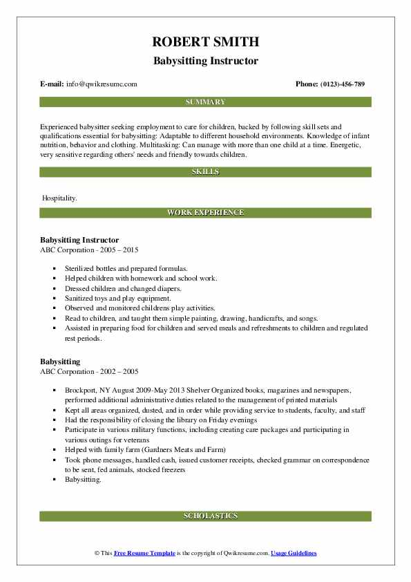 Babysitting Instructor Resume Sample