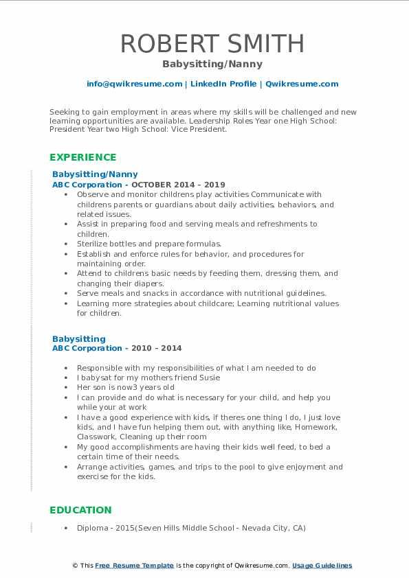 Babysitting/Nanny Resume Model