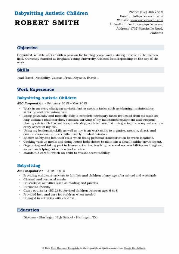 Babysitting Autistic Children Resume Example
