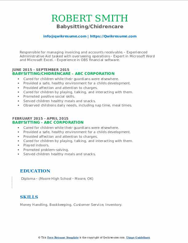 Babysitting/Chidrencare Resume Sample