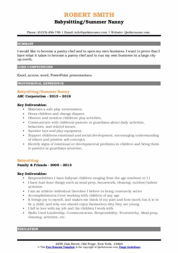 Babysitting/Summer Nanny Resume Format