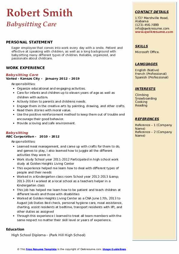 Babysitting Care Resume Format