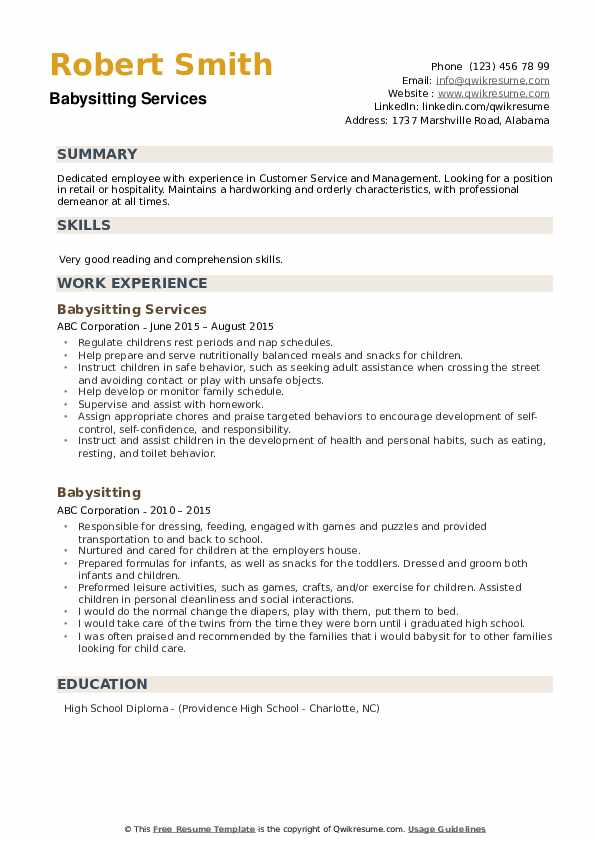 Babysitting Services Resume Format
