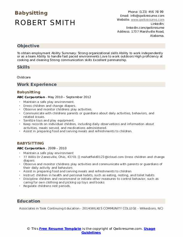 Babysitting Resume Model