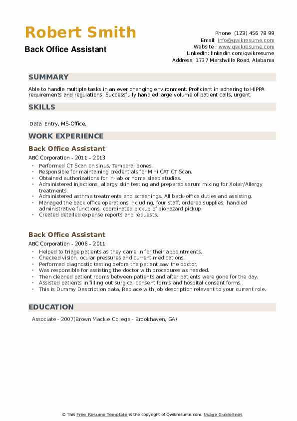 Back Office Assistant Resume example